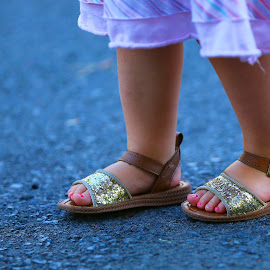 Stylin early by Jack Molan - People Fashion ( painted nails, precious, sandals, toes, cute, darling, glitter )