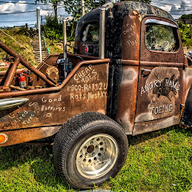 Cheap Toes by John Hoey - Transportation Automobiles ( angry ham' garage bar and grill, angry ham's toeing, hdr, truck, vintage, antique )