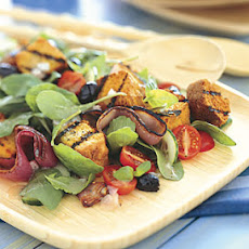 Grilled Cornbread Salad with Red Onions, Arugula, and Red Wine Vinaigrette