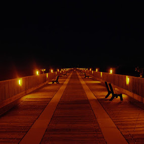 Into Darkness by Jon Cody - Buildings & Architecture Other Exteriors ( pensacola, pier, night, beach, darkness,  )