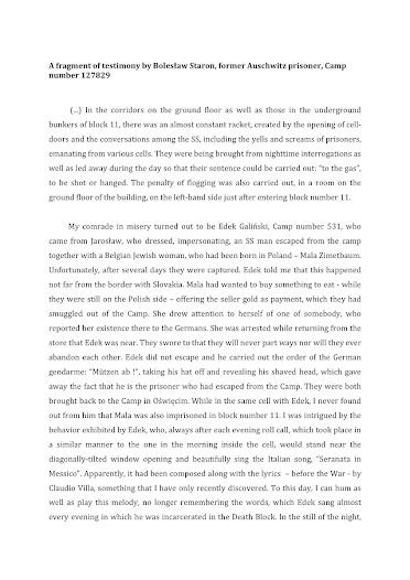 Testimony ofBolesław Staron