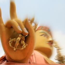 The hand of Guru Padmasambhava by Brahma Prasad - City,  Street & Park  Historic Districts ( brahma, padmasambhava, guru, india, travel, namchi, sikkim, prasad )