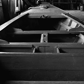 Shipyard by Chloe Chambers - Transportation Boats ( old, wood, black and white, shipyard, ship, horizontal, boat, antique )