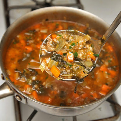 Hearty Escarole, Barley, and Parmesan Soup