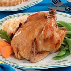 Apricot-Glazed Cornish Hens