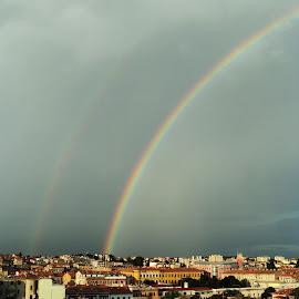 Double Rainbow by Vlado Mandić - City,  Street & Park  Skylines ( double rainbow, pula )