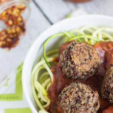 Vegan Quinoa Meatballs with Zucchini Pasta