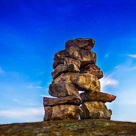 INUKSHUK by Udo Weber - Nature Up Close Rock & Stone ( sky, canada, inukshuk, blue, rock )