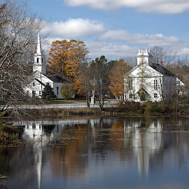 Across the River by Janet Lyle - Buildings & Architecture Places of Worship ( church, fall, river )