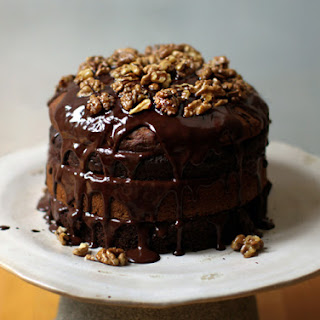 Chocolate Banana Birthday Cake with Maple Glazed Walnuts