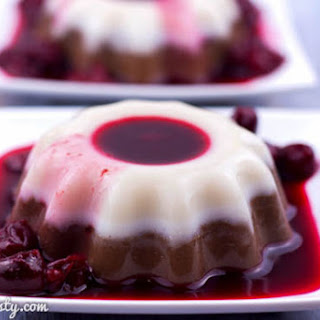 Coconut Chocolate Panna Cotta with Cherry Sauce
