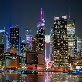 Super Moon at 42nd street  by Eduard Moldoveanu - City,  Street & Park  Skylines