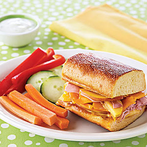 Grilled Ham, Peach and Cheddar Sandwiches