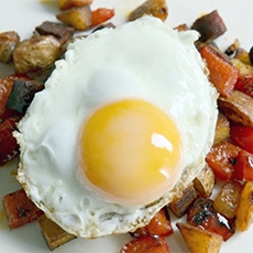 Fried Eggs on Chorizo Hash
