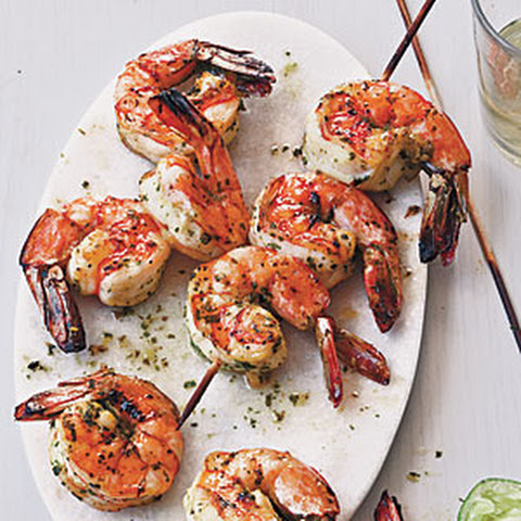 Grilled Shrimp Skewers with Tomato, Garlic & Herbs Recipe | Yummly