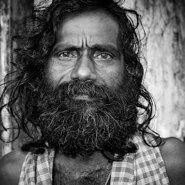 The Vagabond by Prasanta Das - People Portraits of Men ( vagabond, black and white, portrait,  )