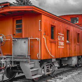 Boxcar by Calvin Morgan - Transportation Trains ( boxcar, selective color, railway, railroad, train, nikon d7000 )