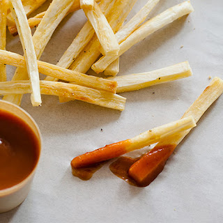 Baked Yucca Fries with Grilled Banana Ketchup