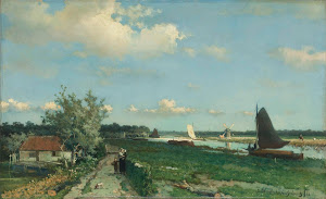 RIJKS: Johan Hendrik Weissenbruch: The Trekvliet Shipping Canal near Rijswijk, known as the 'View near the Geest Bridge' 1868
