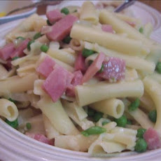 Pasta with Mushrooms, Ham and Peas