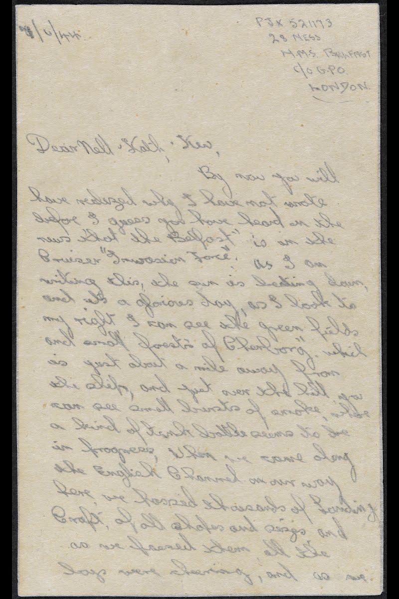 Letter from Able Seaman A Jones on board HMS Belfast