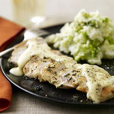 Quick Chicken with Gouda Gravy and Smashed Brocco-tatoes