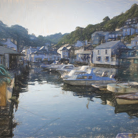 polperro as a sketch by Wendy Peters - Digital Art Places ( water, polperro, harbour, boats, artistic, coastal, cornwall )
