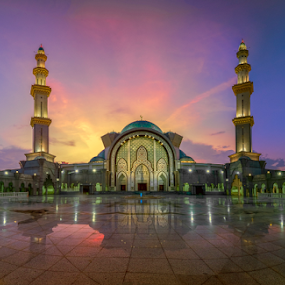 Masjid Wilayah Sunset Panorama by Nur Ismail Mohammed - Buildings & Architecture Places of Worship ( epic, colourful, hdr, masjid, minaret, islamic, sunset, mosque, place of worship, dome, decorations, sahn )