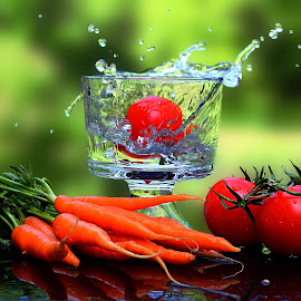 by Dipali S - Food & Drink Fruits & Vegetables ( water, splash, fresh, fruits, glass, vegetables, carrots, tomatoes )