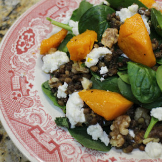 Spicy Butternut Squash Salad with Lentils and Goat Cheese