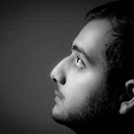 In Thought by Ayaz Kermalli - People Portraits of Men ( emotional, black and white, self portrait, light, photography )