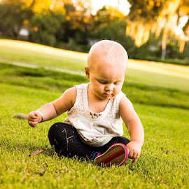 Grassroots  by Joe Spena - Babies & Children Toddlers ( girl, grass, green, october, baby, toddler )