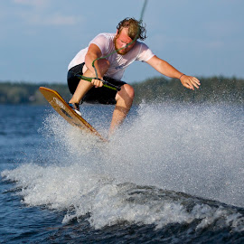 by Jeannette Thalmann-Bendeth - Sports & Fitness Watersports ( water, sws, sparrow lake, canada, sport, summer, wake skate, air, lake, fun )