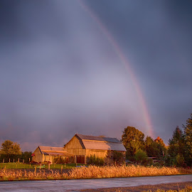 Rainbow over a different Barn. by Trish Golden - Landscapes Weather