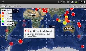 Screenshot of EQInfo - Global Earthquakes