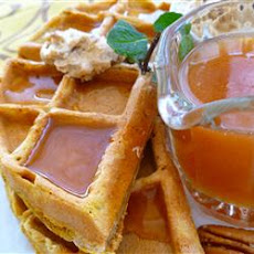 Pumpkin Waffles with Apple Cider Syrup