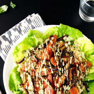 Shiitake Bacon, Lettuce & Roasted Tomato Quinoa Salad