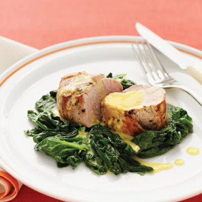Pork Tenderloin with Garlic-Orange Vinaigrette and Sauteed Spinach