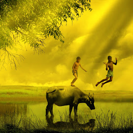 ANAK-ANAK JO KABAU by Ilham Abdi - Digital Art Places ( #kerbau #child #lanscape #pemandangan #desa )