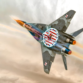 Polish MIG-29 Flares by Marcin Frąckiewicz - Transportation Airplanes ( mig-29, aircraft, flare )