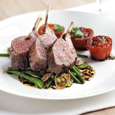 Rack Of Lamb With Warm Salad Of Mixed Beans & Slow-roast Tomatoes