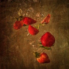 Sinking Strawberries by Betsy Wilson - Food & Drink Fruits & Vegetables ( water, fruit, strawberries, falling, strawberry )