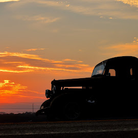Take Time to watch the Sun Set by Kevin Dietze - Transportation Automobiles ( rat rod, sunset, hot rod, evening light, evening cruise,  )