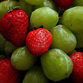 Grapes and strawberries. by Andrew Piekut - Food & Drink Fruits & Vegetables