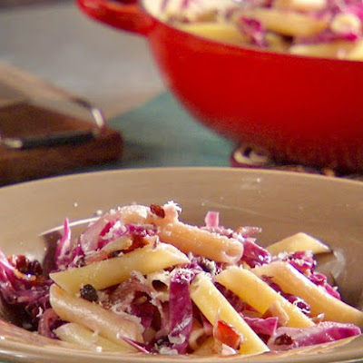 Penne with Cabbage, Bacon, and Currant Sauce