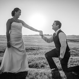 Wedding by Brent Gudenschwager - People Couples ( tuxedo, black and white, shadow, dress, wedding, proposal, couple, sun,  )