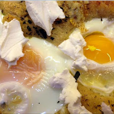 Sunny Side Up Egg Pizza with Goat Cheese & Herbs
