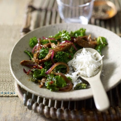 Shredded Beef Stir Fry with kale and black bean sauce