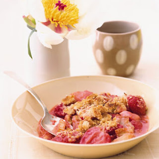 Strawberry Rhubarb Compote with Matzo Streusel Topping