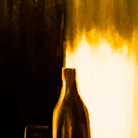 drinking  by Noele Hachach - Painting All Painting ( wine, art, glass, table, bottle )